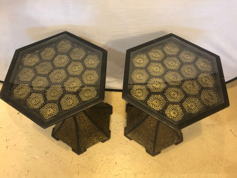 Pair of Hollywood Regency Hexagon Gold Brass and Wood Black End or Side Tables For Sale 3