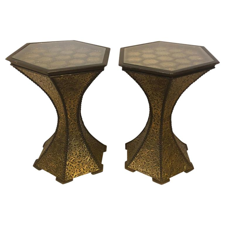 Pair of Hollywood Regency Hexagon Gold Brass and Wood Black End or Side Tables For Sale