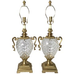 Pair of Hollywood Regency Style Crystal and Brass Lamps
