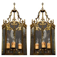 Pair of Hollywood Regency Style Gilt Brass and Glass Lanterns