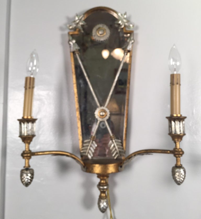 Pair of Hollywood Regency Style Mirrored Sconces For Sale 4