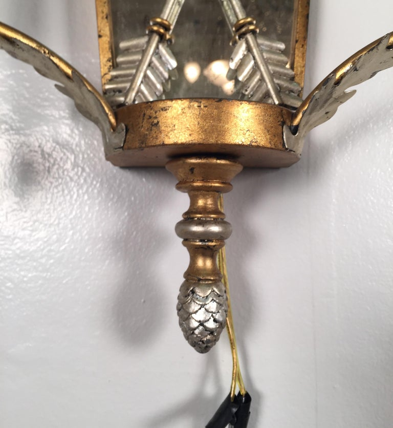 Pair of Hollywood Regency Style Mirrored Sconces For Sale 5