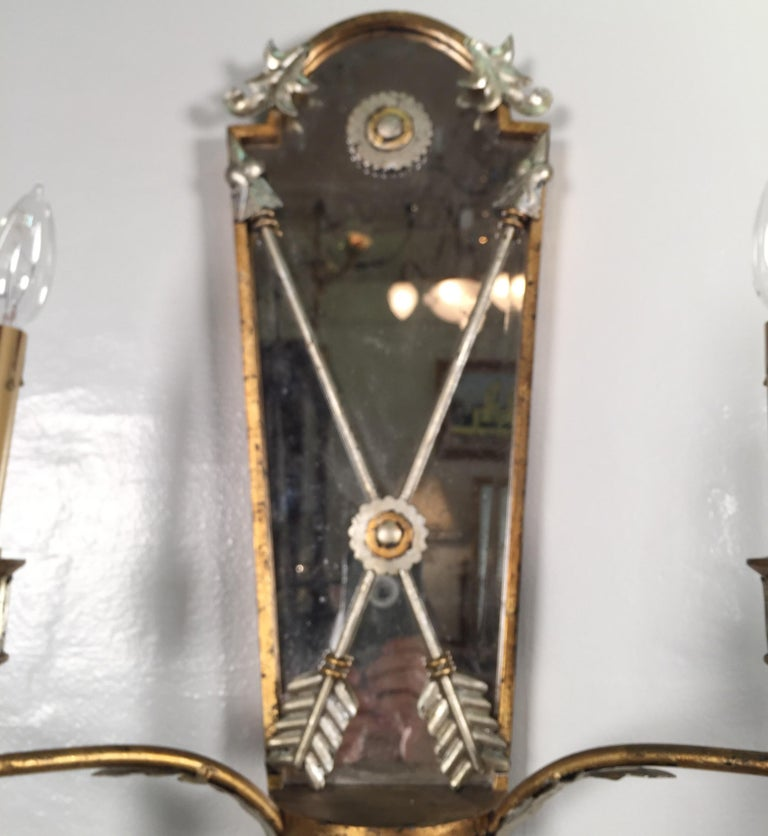 Pair of Hollywood Regency Style Mirrored Sconces For Sale 6