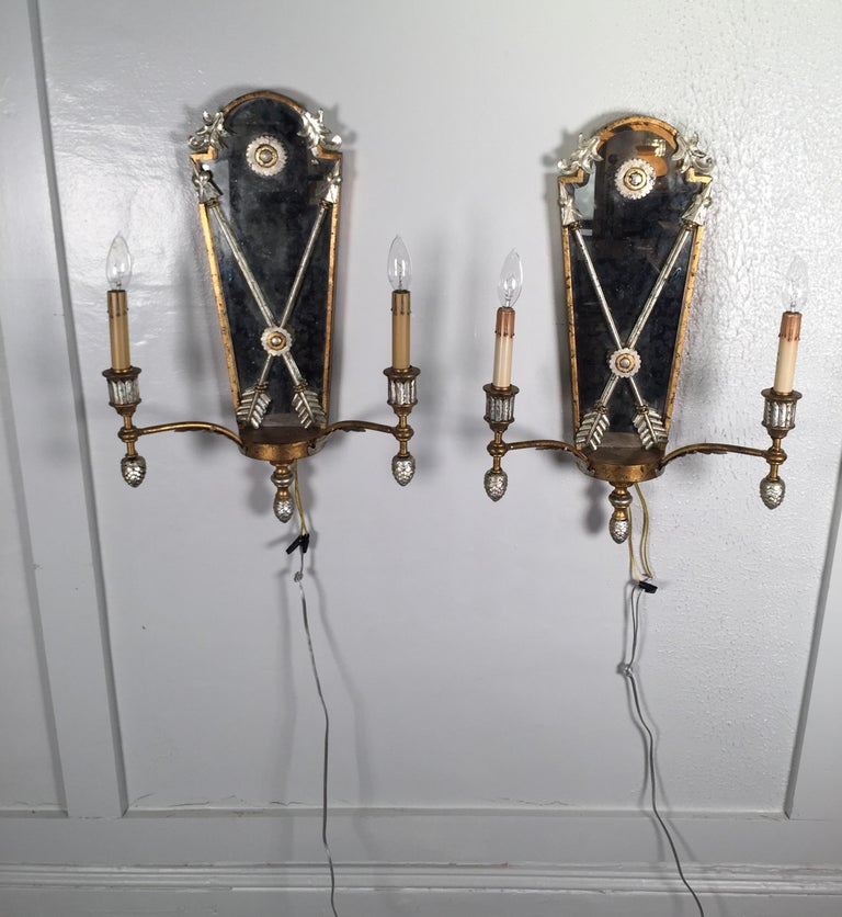 Pair of Hollywood Regency Style Mirrored Sconces For Sale 7