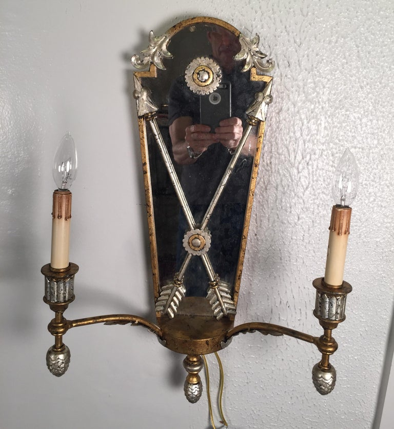 Pair of Hollywood Regency Style Mirrored Sconces In Good Condition For Sale In Lambertville, NJ