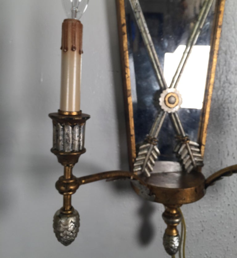 Metal Pair of Hollywood Regency Style Mirrored Sconces For Sale