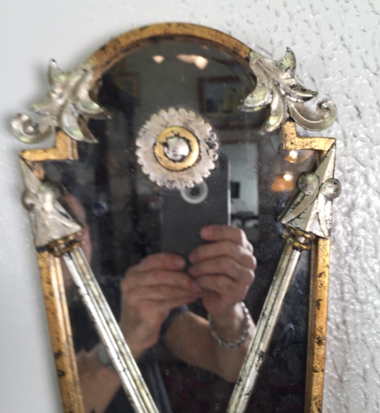 Pair of Hollywood Regency Style Mirrored Sconces For Sale 1