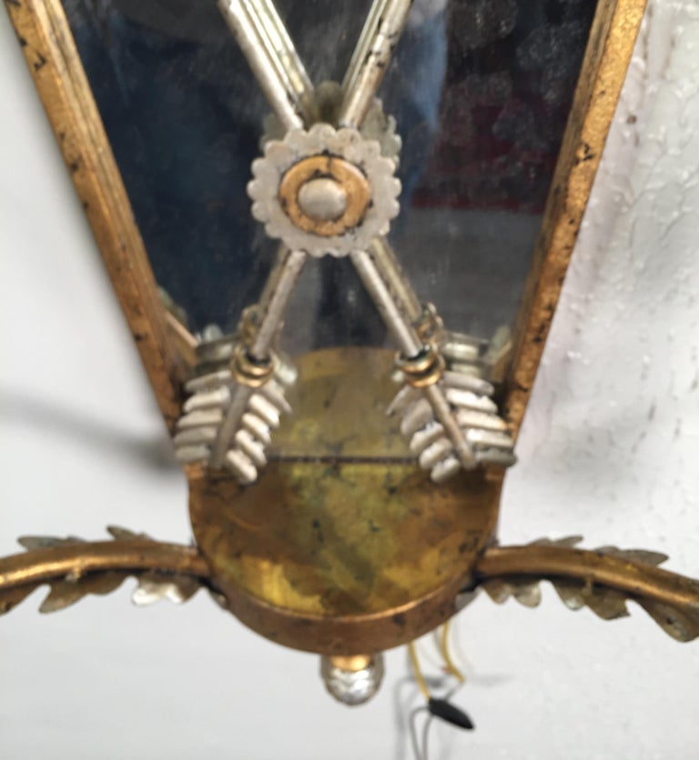 Pair of Hollywood Regency Style Mirrored Sconces For Sale 2