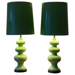 Pair of Impressive Ceramic Lamps circa 1970s with Original Shades