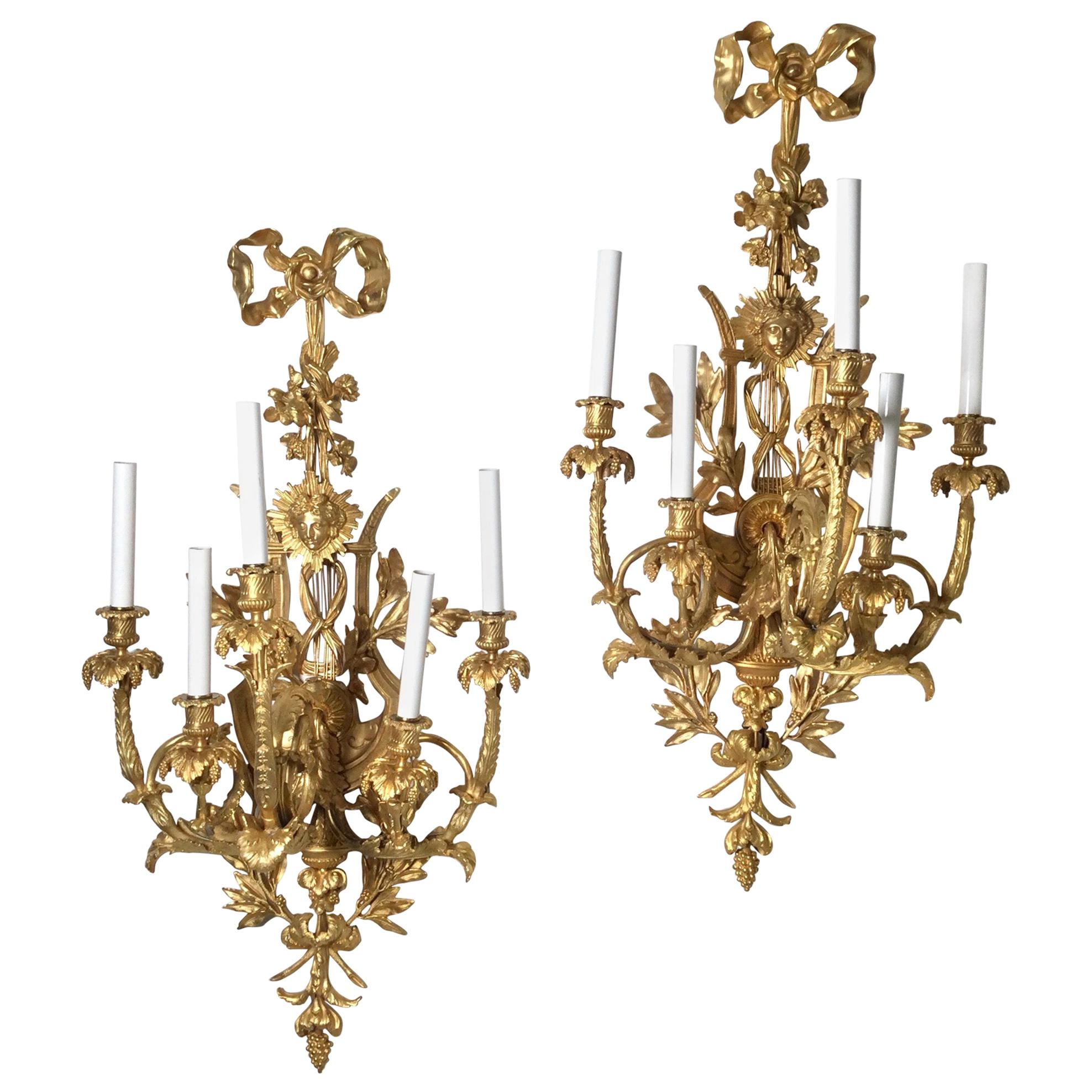 Pair of Impressive French Gilt Bronze Wall Sconces