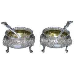Pair of Impressive Victorian Antique Silver Salts, London, 1879