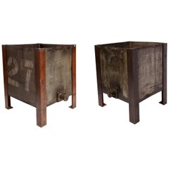 Pair of Industrial Oil Containers, USA, 1900