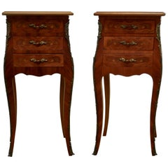 Pair of Inlaid French Marquetry Bombe Shaped Bedside Cupboards