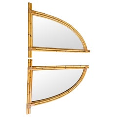 Pair of Interesting 1970s Italian Curved Bamboo Mirrors