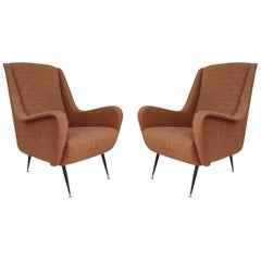 Pair of Iron and Brass Legs and Tile Linen Midcentury Italian Armchairs, 1960