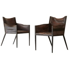 Pair of Iron and Leather Chairs