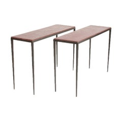 A Pair of Iron and Leather Console Tables in the Manner of Jean-Michel Frank