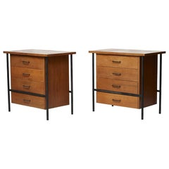 Pair of Iron and Walnut Chests Designed by Donald Knorr for Vista