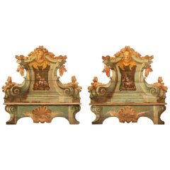 Pair of Italian 18th Century Baroque Cassapanca Polychrome Benches