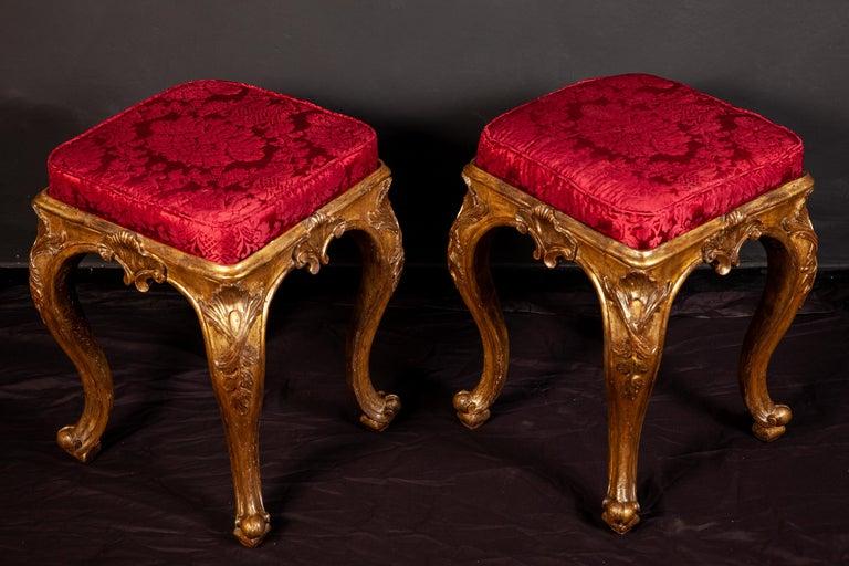 Louis XV A Pair of Italian 18th Century Gilt-wood Stools Roma 1750 For Sale