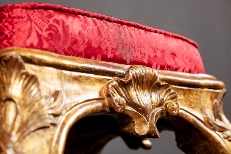 Giltwood A Pair of Italian 18th Century Gilt-wood Stools Roma 1750 For Sale