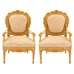 Pair of Italian 18th Century Louis XV/XVI Giltwood Throne Armchairs
