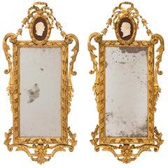 Pair of Italian 18th Century Louis XVI Carrara Marble and Giltwood Mirrors