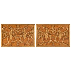 Pair of Italian 18th Century Polychrome and Giltwood Roman Wall Plaques