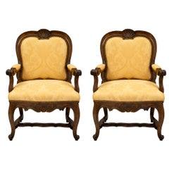 Pair of Italian 19th Century Carved Walnut Armchairs