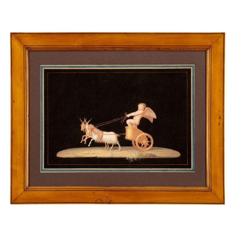 Pair of Italian 19th Century Gouaches, in the Manner of Maestri For Sale 6
