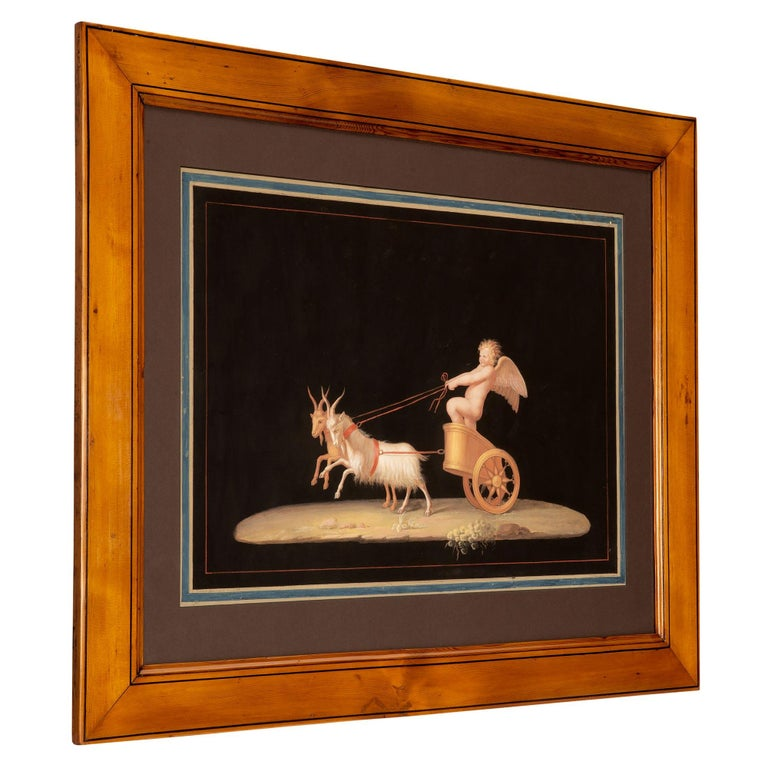 A wonderfully decorative and colorful pair of Italian 19th century gouaches, in the manner of Michelangelo Maestri. The pair are of playful satyrs and winged cherubs. The Satyrs are attempting to ride a donkey that is just waking up, while the other