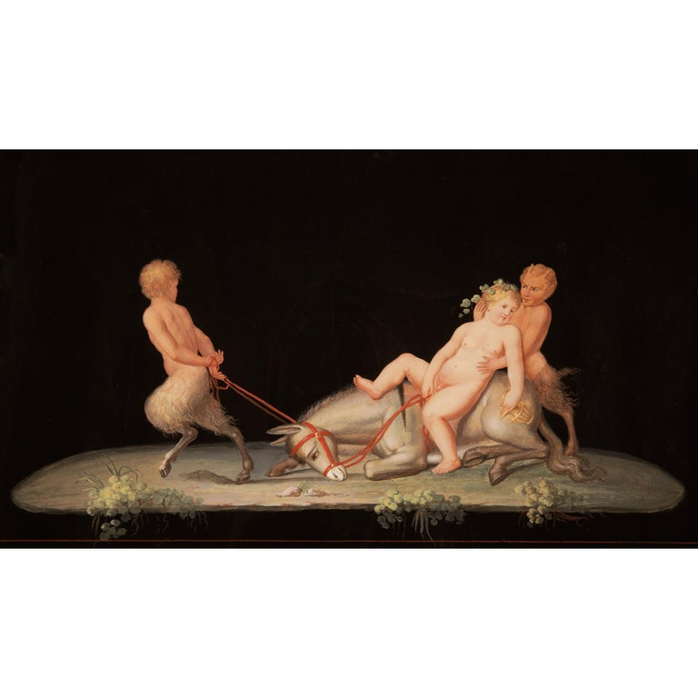 Pair of Italian 19th Century Gouaches, in the Manner of Maestri In Excellent Condition For Sale In West Palm Beach, FL