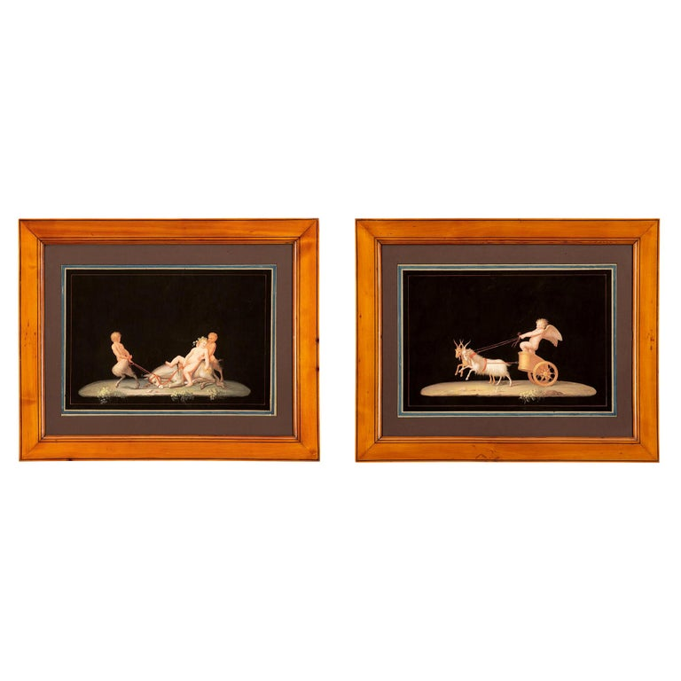 Pair of Italian 19th Century Gouaches, in the Manner of Maestri For Sale