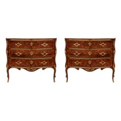Pair of Italian 19th Century Louis XV Kingwood and Ormolu Genovese Commodes