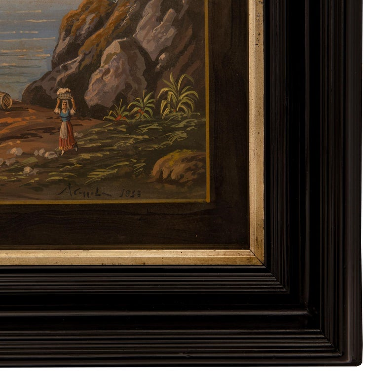 Pair of Italian 19th Century Louis XVI Style Gouaches in Mecca Frames In Excellent Condition For Sale In West Palm Beach, FL