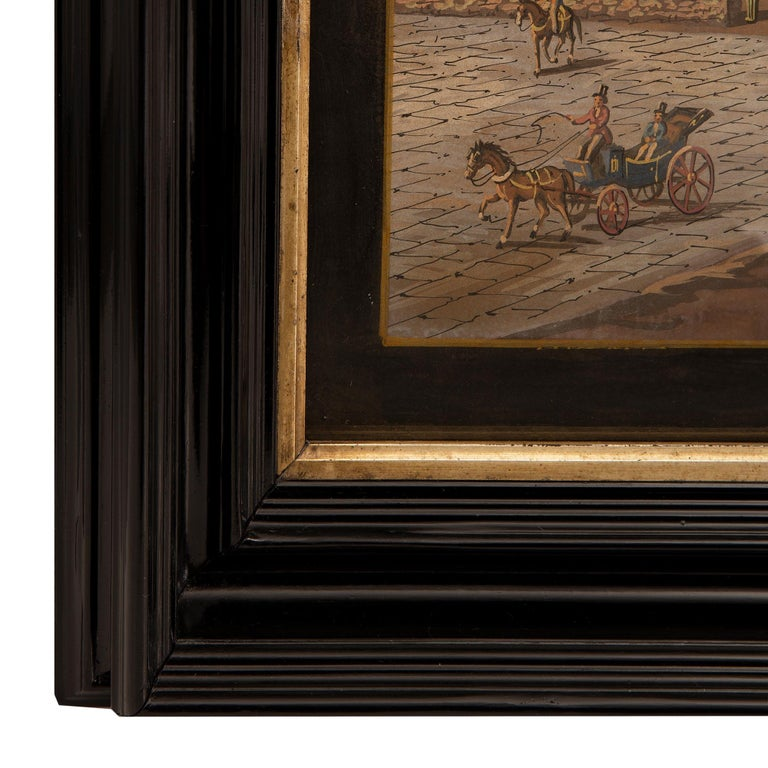 Paint Pair of Italian 19th Century Louis XVI Style Gouaches in Mecca Frames For Sale