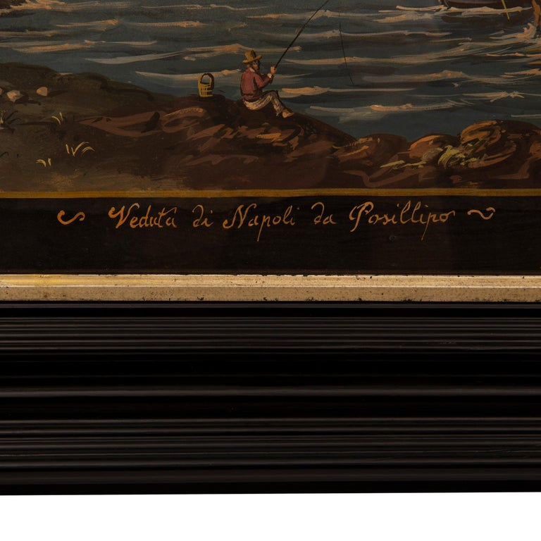 Pair of Italian 19th Century Louis XVI Style Gouaches in Mecca Frames For Sale 1