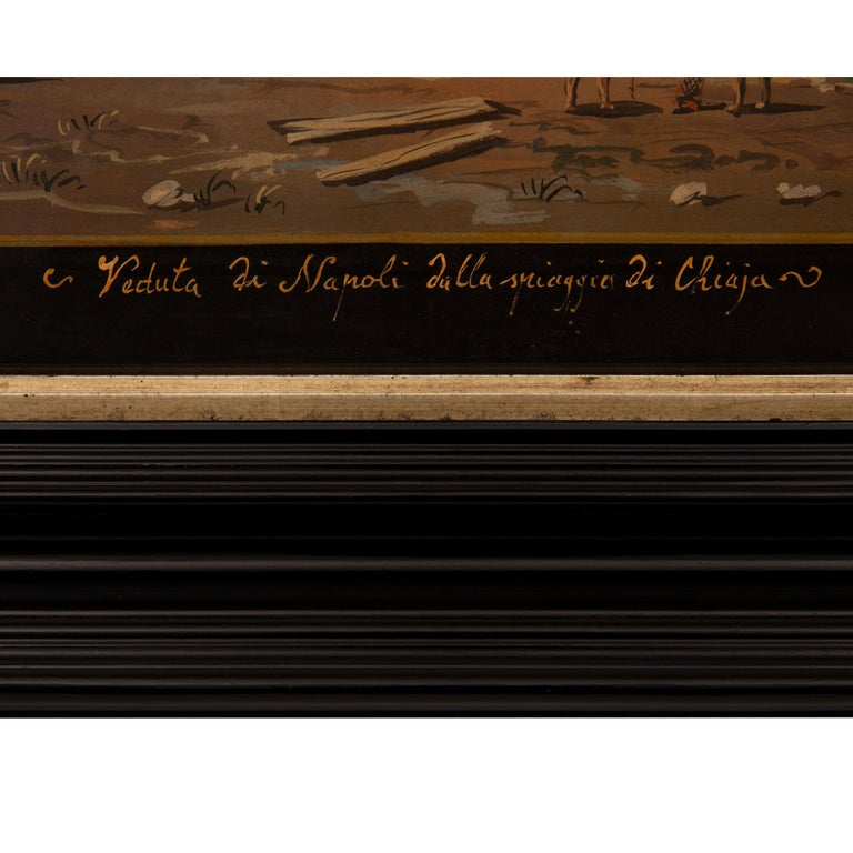 Pair of Italian 19th Century Louis XVI Style Gouaches in Mecca Frames For Sale 2