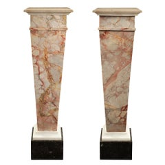 Pair of Italian 19th Century Louis XVI Style Marble Pedestals