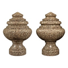 Pair of Italian 19th Century Neoclassical Style Granite Lidded Urns