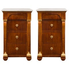 Pair of Italian 19th Century Neoclassical Style Marble and Cherrywood Chest