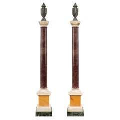 Pair of Italian 19th Century Neoclassical Style Marble and Porphyry Columns