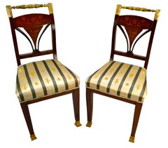 Pair of Italian 19th Century Marquetry and Gilt Bronze Empire Side Chairs