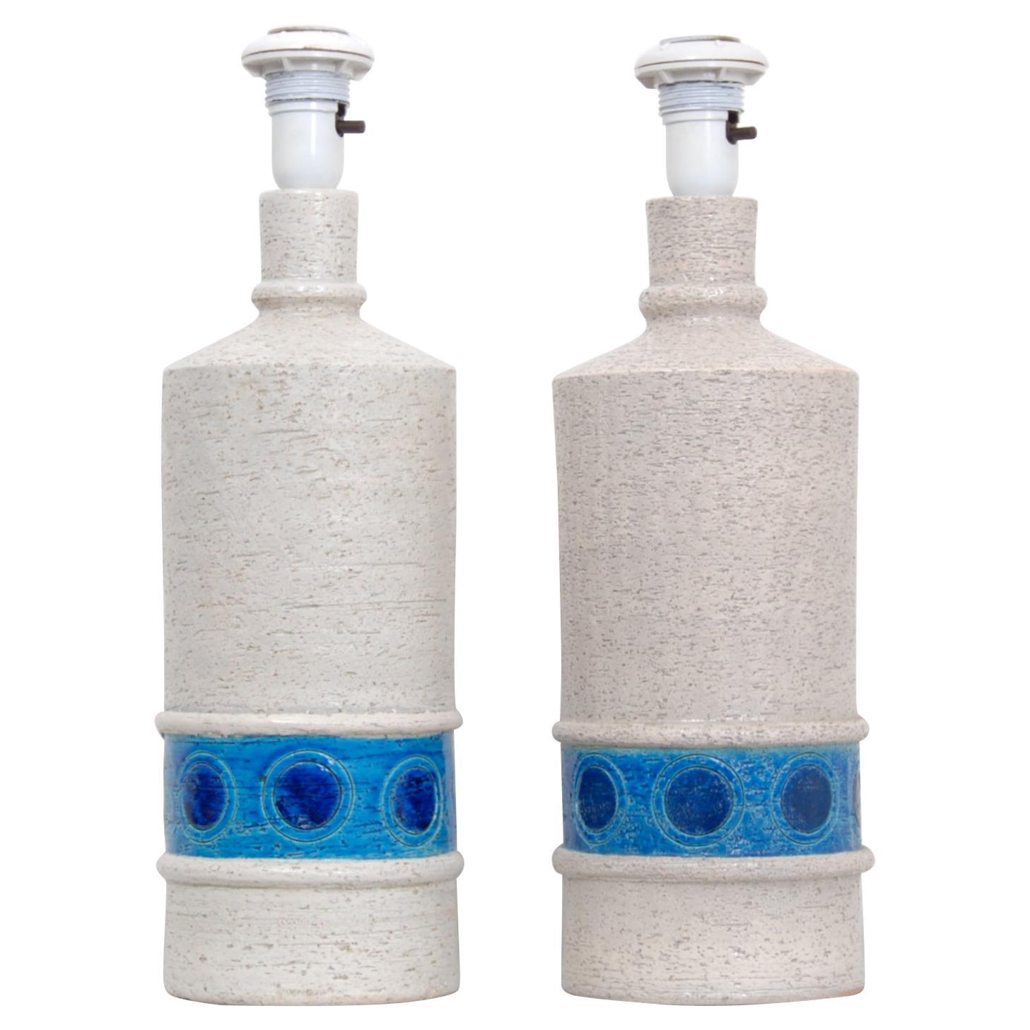 Pair of Italian Bitossi Bone White Ceramic Lamps