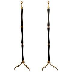 Pair of Italian Brass and Ebonized Wood Midcentury Floor Lamps