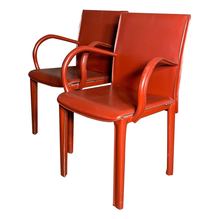 Pair of Italian Burgundy Leather Armchairs by Arper For Sale
