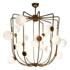 Italian  Chandelier Modernist Design Brass and Glass, circa 1970
