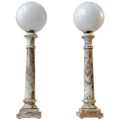Pair of Italian Column Table Lights in Onyx Marble, 1970s