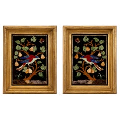 Pair of Italian Early 19th Century Framed Pietre Dure Wall Plaques