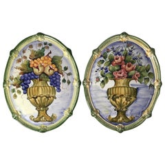 Pair of Italian Faience Hand Painted Floral Wall Plaques